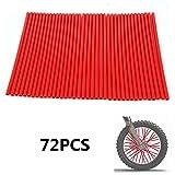 """72 Pcs Red Motorcycle Wheel Spoke Skins Cerchioni Coprispalle Cappotti Protector Per cerchi da 19""""-21"""" HONDA CR250R CR125R CRF250R CRF250X CRF450R CRF450X XR250R XR400R Dirt Pit Bike"""