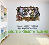 Motocross Loch in 3D Effekt Wandaufkleber geeignet f?r Kinder Schlafzimmer W?nde, T?ren und Fenstern. - XXL 100CM X 68CM