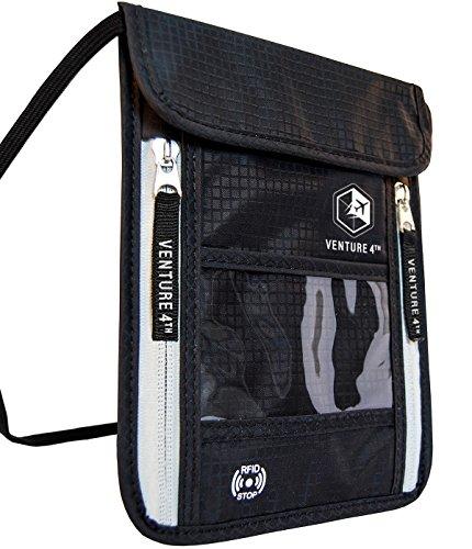 Borsello da Viaggio da portare al Collo con Protezione RFID Portapassaporto (Black)