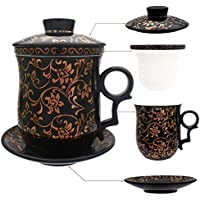 HOLLIHI - Taza de té de porcelana con tapa e infusor de platillo – Cerámica china Jingdezhen, taza de café, taza de té, sistema de preparación de té para el hogar y la oficina