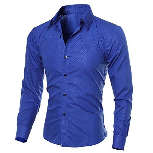 DNOQN Herren Hemden Langarm Achselshirt Herren Mode Gedruckt Bluse Lässig Langarm Slim Shirts Tops M