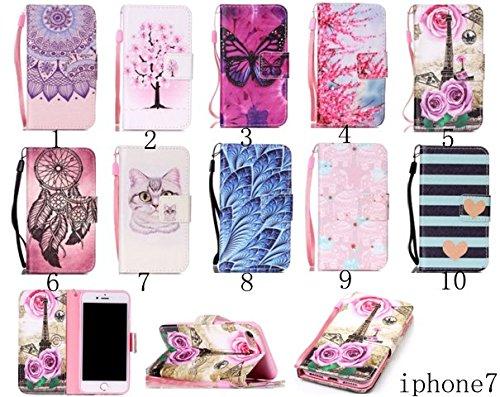 PU Cuir Coque Strass Case Etui Coque étui de portefeuille protection Coque Case Cas Cuir Swag Pour Apple iPhone 7 (4.7 pouces) +Bouchons de poussière (7OO) 10