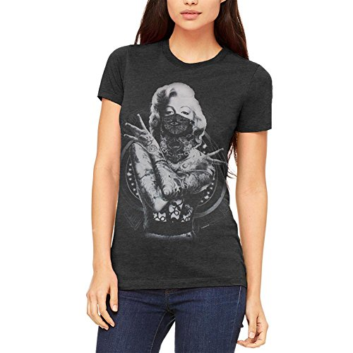 Outlaw Marilyn Monroe Junioren weichen T Shirt Heather Black