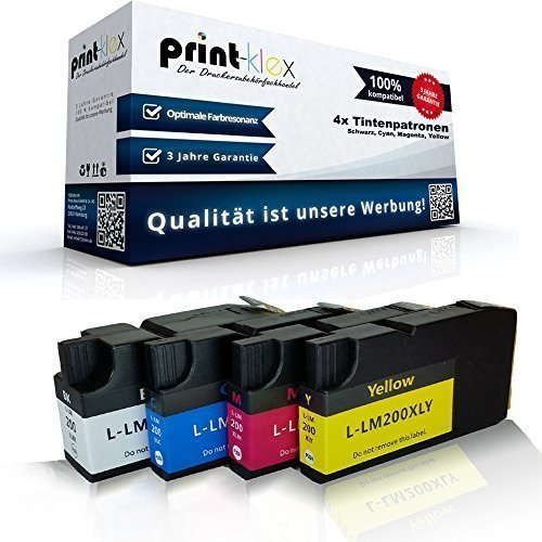 4x kompatible Tintenpatronen für Lexmark OfficeEdge Pro 4000 Pro 5500t Pro 5500 Series Pro 5500 t 14L0174E 14L0175E 14L0176E 14L0177E Schwarz Cyan Magenta Yellow - 14 Farb-tintenstrahl