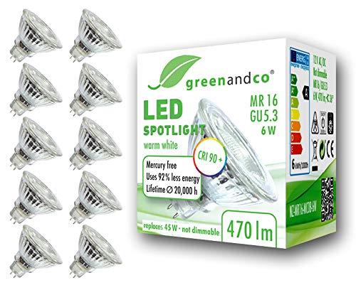 10x greenandco® CRI90+ LED Spot ersetzt 45 Watt GU5.3 MR16 Halogenstrahler, 6W 470 Lumen 3000K warmweiß SMD LED Strahler 36° 12V AC/DC Glas mit Schutzglas, nicht dimmbar, 2 Jahre Garantie -