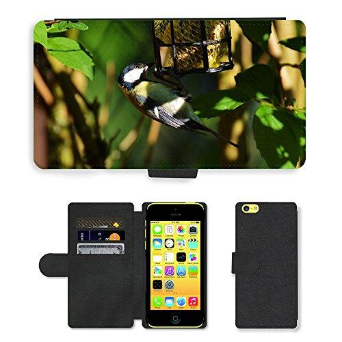 Just Mobile pour Hot Style Téléphone portable étui portefeuille en cuir PU avec fente pour carte//m00139918Mésange d'Oiseau d'Oiseaux de graines pour boules de graisse//Apple iPhone 5C
