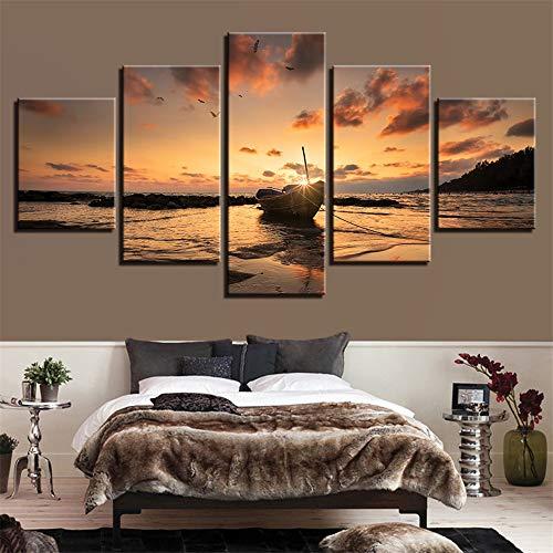 zimmer Schlafzimmer Kunstwerk seelandschaft landschaftsmalerei 5 stücke Sonnenuntergang seelandschaft Boot HD Wand Kunstwerk Dekoration Wand Kunstwerk 8 40x60 40x80 40x100 cm ()
