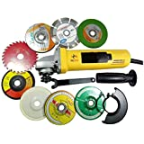 Toolscentre Powerful 850W 801 Angle Grinder with Cutting/Grinding Wheels, 4 Inch, Yellow