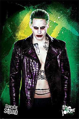 """Maxi poster del Joker, personaggio del film """"Suicide Squad"""", da affiggere su basi in legno, multicolore"""