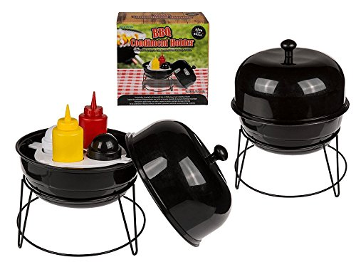 OOTB 71/3145 Gewürzhalter, Kugelgrill, mit Kunststoff-Salz-und Pfefferstreuer, Senf-und Ketchup-Flasche, Schwarz