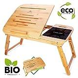 CURVAN Laptoptisch Bambus Betttisch Beistelltisch | Frühstück Bett Sofa | Carved
