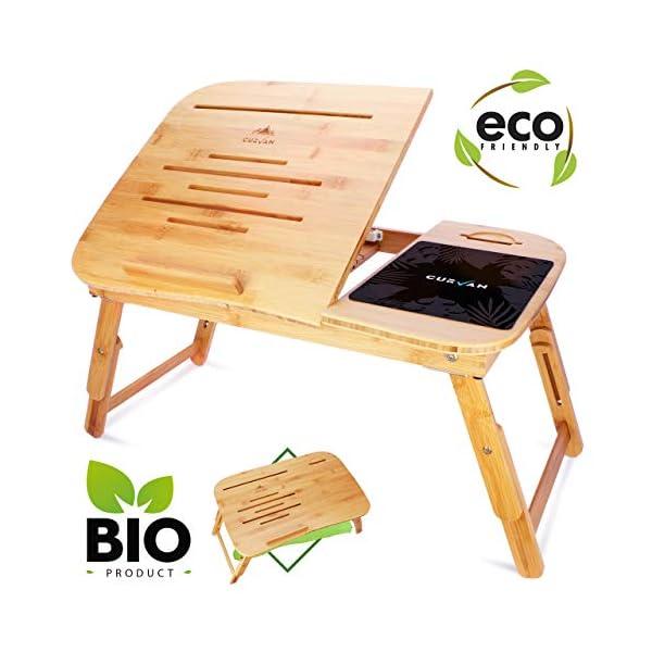 Tavolino Letto Notebook.Curvan Tavolino Da Letto In Bambu Per Pc Portatile Tappetino Per Mouse Vassoio Per Letto E Divano Per Notebook Fino A 15 6 58 X 38 X 31 Cm
