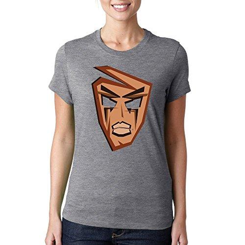 Ancient mask graphic logo dope t-shirt femme coton Gris