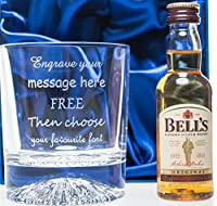 Personalised Alaska Crystal Glass & Bells Whisky in Silk Gift Box 40th/50th/60th/70th Birthday/Dad/Grandad/Present
