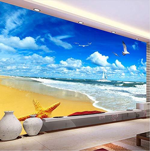 Lsfhb Benutzerdefinierte Wandbild Wandbild Non-Woven Wohnzimmer Wohnkultur Papel De Parede 3D Blauer Himmel Weiße Wolken Strand 3D Fototapete-280X200Cm