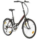 BIKE SPORT LIVE ACTIVE Bikesport Klapprad Fahrrad Folding 24 Zoll Shimano 6 Gang, STVO Beleuchtung, Komplett montiert (Schwarzer Glanz)