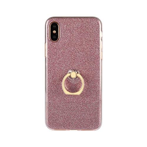 Meimeiwu Ultra Thin TPU Schutzhülle Case Hülle mit 360 Grad Rotierende Ring Ständer für iPhone 8 - Schwarz Pink