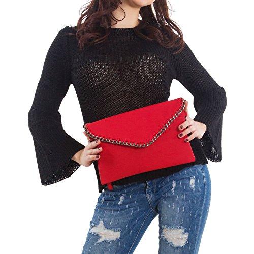 Toocool - Pochette donna borsa a mano catene busta tracolla borsa borsetta nuova A-5013 Rosso