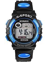 Tongshi El hombre multifunción de cuarzo digital LED de alarma Fecha reloj impermeable de los deportes (Azul)