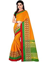 Fashion Now Orange Cotton Silk Party Wear Sarees For Wedding
