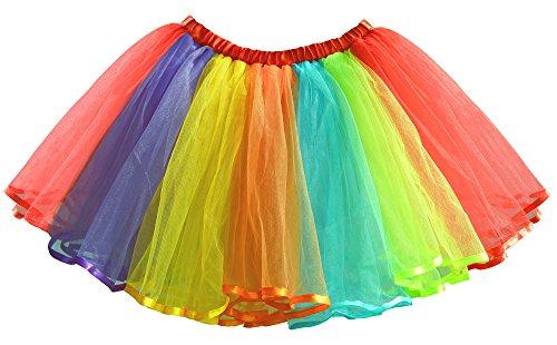 Rainbow Farbiges Kostüm - Dancina Damen Regenbogen Tutu Bauschrock in