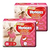 Huggies Ultra Soft Pants Premium Diapers For Girls, M 30 Pieces (Pack Of 2)