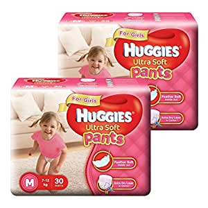 Huggies Ultra Soft Pants Medium Size Premium Diapers for Girls (2 x 30 Counts)