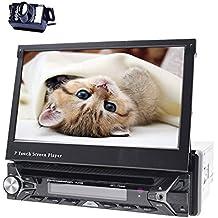 """HD impermeable cámara de marcha atrás + 7""""pantalla tÁctil Digital 1DIN coche reproductor de DVD GPS navegación estéreo de coche receptor de radio de coche Bluetooth FM AM Audio + Antena GPS + marco tarjeta de 8G"""