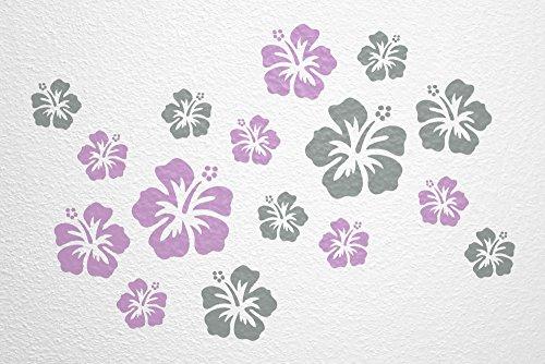 WANDfee® Wandtattoo 16 Hibiskus Blüten AC0611820 Größe Ø 7 - 15 cm, 2 x Ø 15 cm, 4 x Ø 11 cm, 10 x Ø 7 cm Farbe flieder grau