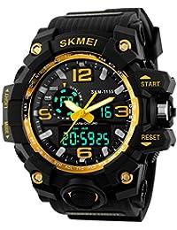 Beswlz de grande Unisex Reloj Deportivo multifunción digital LED Dual tiempo relojes con 50 m Wateproof S-shock reloj de pulsera (amarillo)