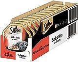 Sheba Adult Katzen-/Nassfutter, für Erwachsene Katzen Selection in Sauce, mit Rinderhäppchen, 22 Schalen (22 x 85 g)