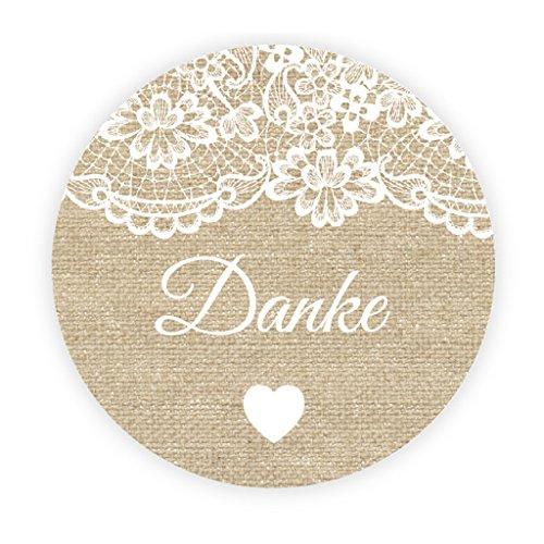 48 Stk Danke Aufkleber Sticker - Burlap und Lace Effekt Sticker - 4 cm Geschenkaufkleber Etiketten für Gastgeschenk,Vintage Hochzeit,Geburtstagsfeier,Taufe,Partytüte,Danksagungen - -UNI 066