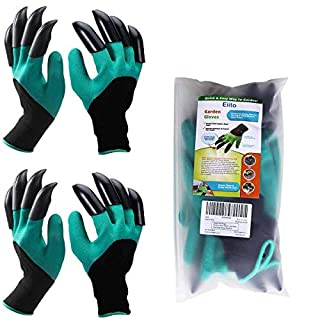 Garden genie gloves for ladies (small/medium-2 pairs Left Right claws), garddening gloves easy to dig and Garden gloves with claws plant safe for rose pruning
