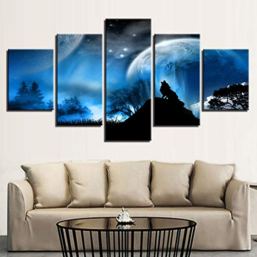XLST HD-Drucke Wandkunst Segeltuch Gemälde Wohnkultur 5 Stücke Mond Nacht Wolf Heulen Bilder Tiere Plakate,A,40X60X240X80X240X100X1 -