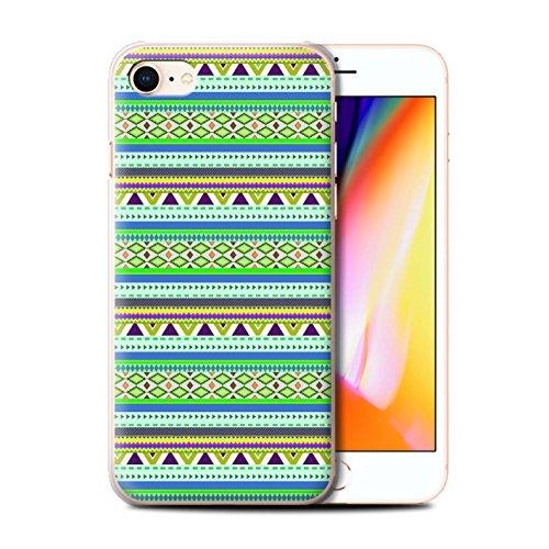 Stuff4 Hülle / Case für Apple iPhone 8 / Grün/Rot Muster / Aztekische Stammes Muster Kollektion Grün/Lila