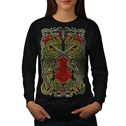 Drachen Gewehr Rose Gangster Damen L Sweatshirt | Wellcoda