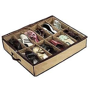 whizztec 12 paar schuhe aufbewahrung organizer halter schuh organizer tasche box unter dem. Black Bedroom Furniture Sets. Home Design Ideas