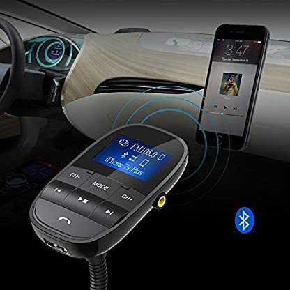 NULAXY-FM-Transmitter-Bluetooth-fm-Transmitter-KFZ-freisprecheinrichtung-Car-Kit-Wireless-Radio-KM20-KM20