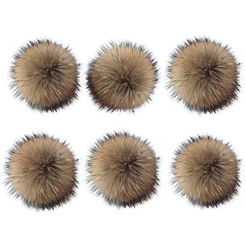 6 Unids 15 cm Faux Fox Fur Fluffy Pompom Ball con Botón de Presión Desmontable Hebilla Tejer Sombrero Accesorios para Punto Cuffed Beanie Ski Invierno Zapatos Zapatos Bufandas Bolsa