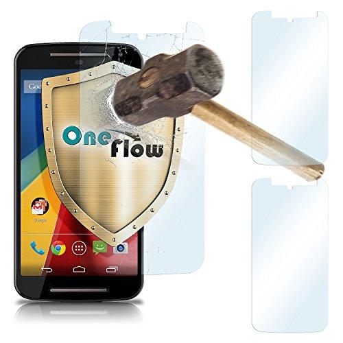 Motorola Generation Moto E 2. (2x OneFlow 9H Panzerfolie für Motorola Moto G2 Panzerglas Display Glasfolie [Tempered Glass] Screen protector Glas Displayschutz-Folie für Motorola Moto G 2. Generation Schutzfolie)