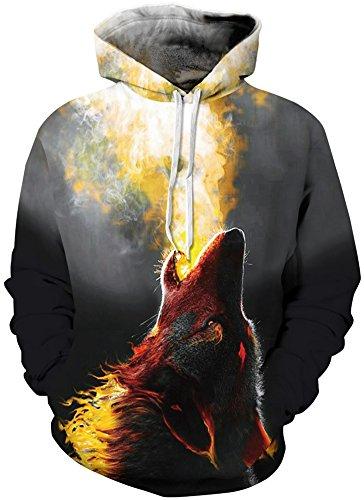 TDOLAH Herren 3D Druck Sweatshirts Weihnachten Pullover mit Aufdruck Herbst Hemd Kapuzenpullover Langarm Top Jumper Shirt Wolf Flamme