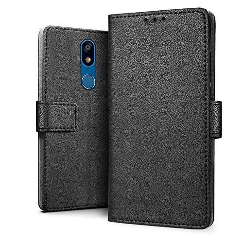 HDRUN LG K40 Hülle - Premium PU Leder Flip Tasche Case mit Kartensteckplätzen & Ständerfunktion Schutzhülle Handyhüllen Kompatibel mit LG K40, Schwarz