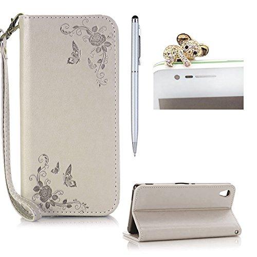 SKYXD Leder Hülle für Sony Xperia E5 Rosen Blumen und Schmetterlings Muster,PU Folio Klappbar SchutzHülle [Brieftasche Kartenfach / Magnet / Standfunktion / Trageschlaufe] KlappHülle für mit [Koala Handyanhänger + Eingabestift] 3 in 1 Zubehör Set Handy Tasche Etui for Sony Xperia E5 Bookstyle Flip Case Leather Cover With [Stylus and Dust Plug]- Grau