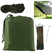 willkey Tarp Shelter Portable Lightweight Camping Tent Mat Cover Waterproof Sun Shade Camping Equipment Essential Survival Gear Stakes include Carry Bag