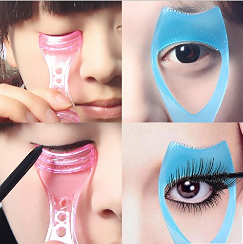 Fengh 3 in 1 Make-up Mascara Wimper Guide Kamm Kosmetik Tool (blau)