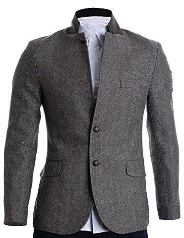 FLATSEVEN Mens Slim Fit Winter Wool Blends Jacket Herringbone (BJ210) Brown, M