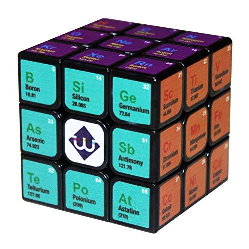 PPu Speed Cube für Kinder Erwachsene, dritter Ordnung Rubiks Cube Chemisches Element Tabelle Lernspielzeug Lernwerkzeuge Geschenk UV-Druck Keine Aufkleber -
