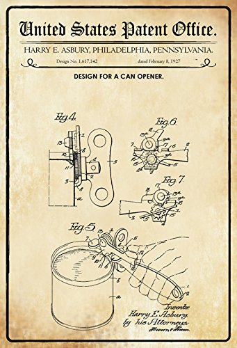 Schatzmix United States Patent Office - Design for a Can Opener - Entwurf für EIN Dosenöffner - Asbury, Pennsylvania, 1927 - Design No 1.617.142 - Blechschild