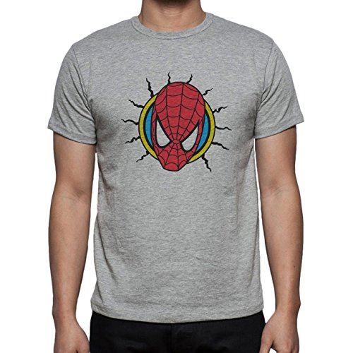 Spiderman Face Badge Herren T-Shirt Grau