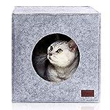 PiuPet Cama de Gato Incl. cojín, Casa de Gato Adecuada para IKEA Kallax & Expedit | Cueva Comoda en Gris, óptica de Fieltro, Diseño Elegante y Moderno
